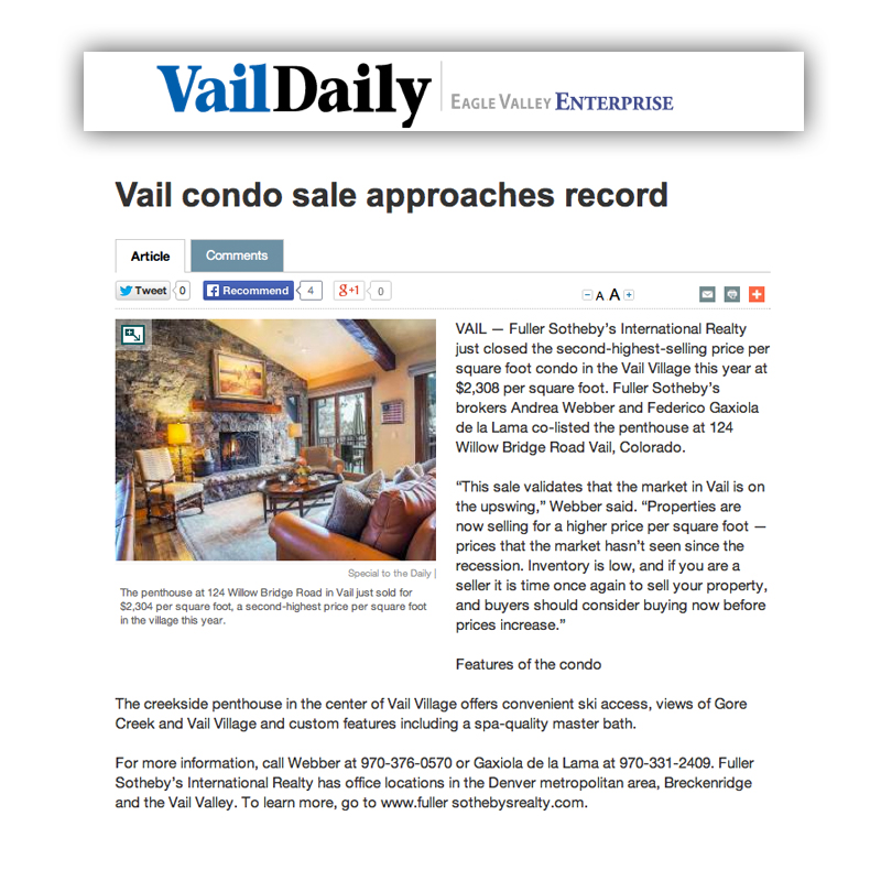 Vail Daily Highest Price Per Square Foot Condo Sale