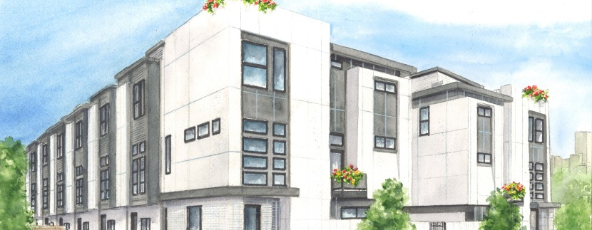 Zuni 30 Townhomes - Watercolor - Cropped