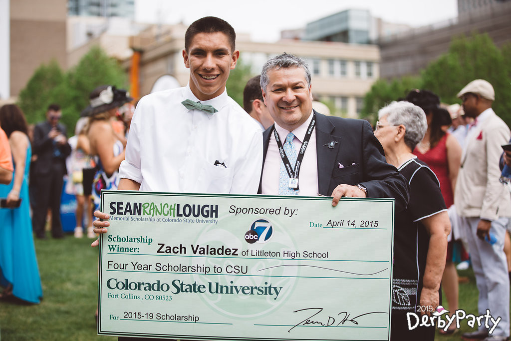 """Pictured: Zach Valadez, presented with Sean """"Ranch"""" Lough Foundation scholarship."""