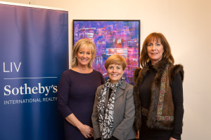 LIV Sotheby's International Realty brokers Jane Brennan, Joanne Ernstsen and local artist, Mary Lou Blackledge.